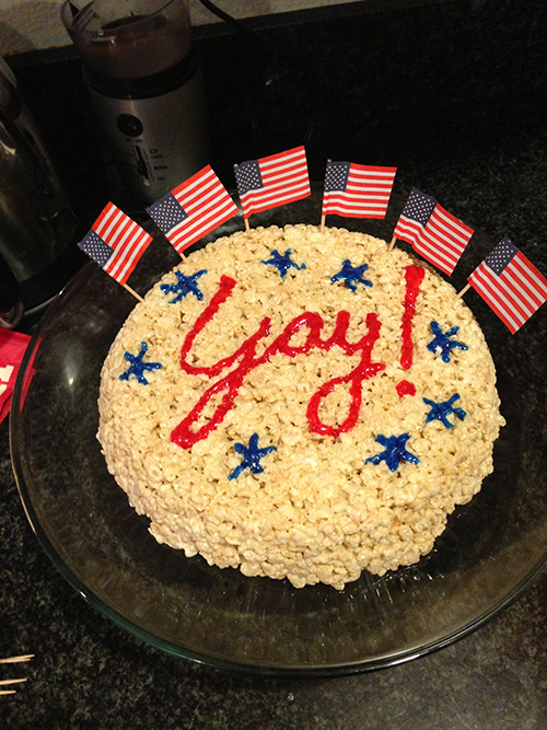 Yay cake. Mom's a citizen now!